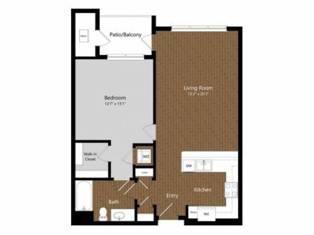 1 Bdrm Floor Plan | Floor Plans & Pricing | 1-2 Bedroom Apartments North Andover MA | Princeton North Andover