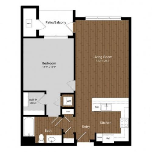 1 Bdrm Floor Plan | Floor Plans & Pricing | 1-2 Bedroom Apartments North Andover MA | Princeton North Andover