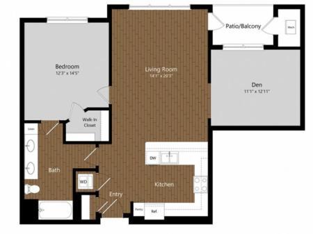 Emerald 1 Bdrm Floor Plan | Floor Plans & Pricing | 1-2 Bedroom Apartments North Andover MA | Princeton North Andover