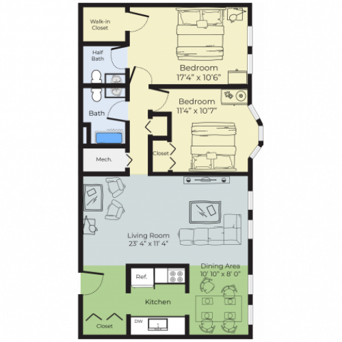 2 Bedroom Floor Plan | Apartment Nashua Nh | Boulder Park