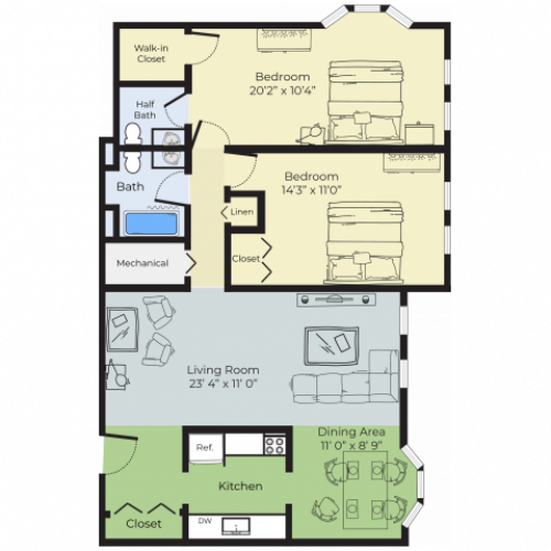 2 Bdrm Floor Plan | Nashua New Hampshire Apartments For Rent | Boulder Park