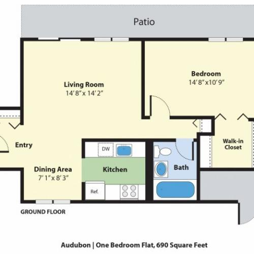 1 Bedroom Floor Plan | Apartments For Rent Falmouth Maine | Foreside Estates