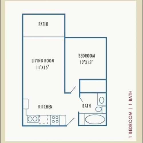1 Bedroom Floor Plan | Apartments For Rent In Lowell Ma | Westford Park