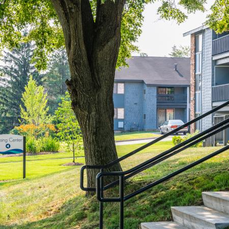 Outoor landscaping and stairs leading up to apartments | Apartments For Rent In Haverhill Ma | Princeton Bradford Apartments