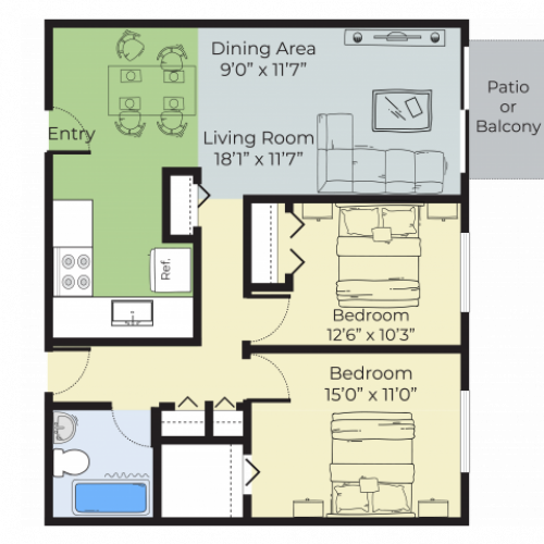 2 Bedroom Floor Plan   Apartment Complex In Nashua Nh   Pheasant Run Apartments