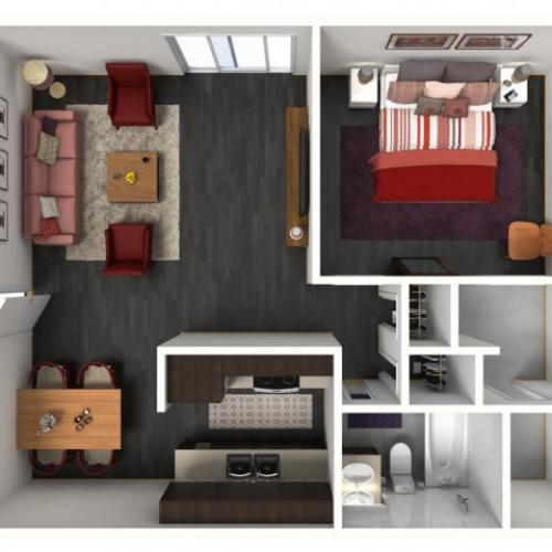 1X1A Floorplan: 1 Bedroom, 1 Bathroom 663 sqft