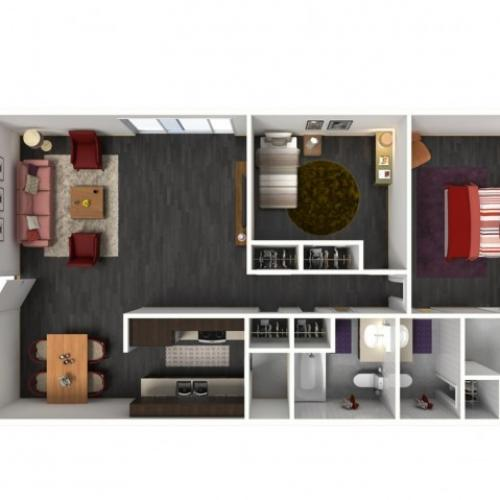 2X2A Floorplan: 2 Bedroom, 2 Bathroom - 994 sqft