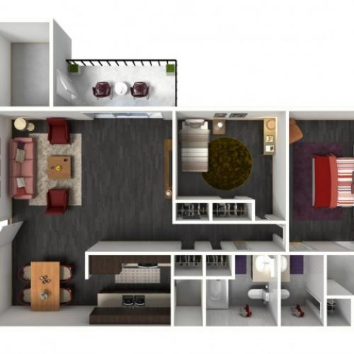 2X2B Floorplan: 2 Bedroom, 2 Bathroom - 1049 sqft