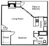 Studio, 1 Bathroom; 629sqft