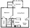 A1S: 1 Bedroom, 1 Bathroom; 666sqft