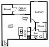 A2: 1 Bedroom, 1 Bathroom; 741sqft