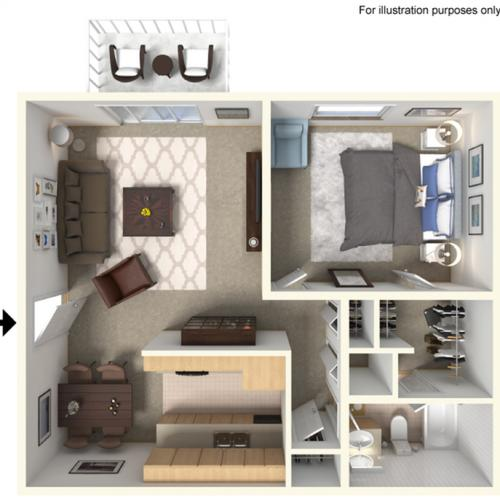 A1: 1 Bedroom, 1 Bathroom 750sqft