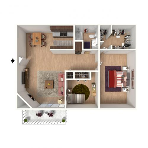 B1 Floorplan: 2 Bedroom, 1 Bathroom - 912 sqft