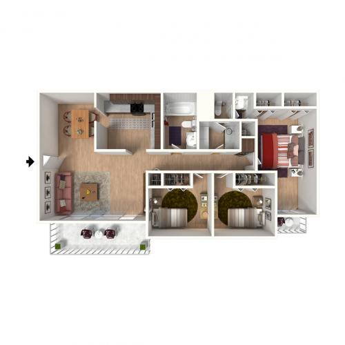 C1 Floorplan: 3 Bedroom, 2 Bathroom - 1300 sqft