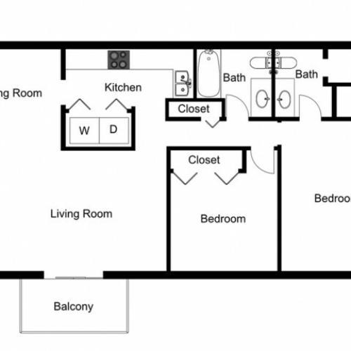 B2 Floorplan: 2 Bedroom, 2 Bathroom, 1000sqft