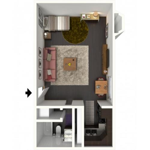 A0 Floorplan: Studio - 500 sqft