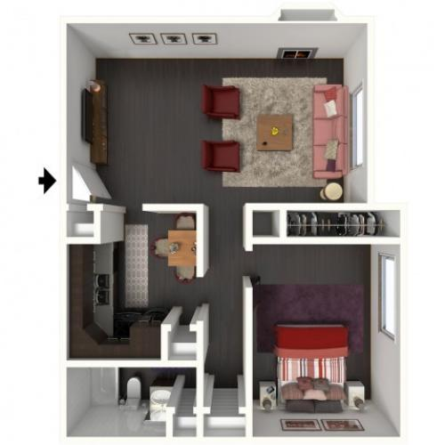 A1 Floorplan: 1 Bedroom, 1 Bathroom - 750 sqft