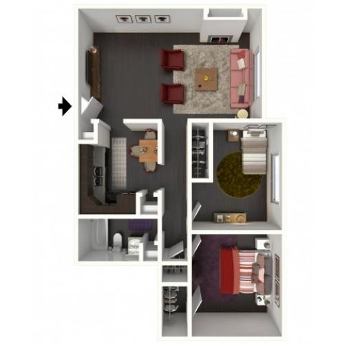 B1 Floorplan: 2 Bedroom, 1 Bathroom - 850 sqft