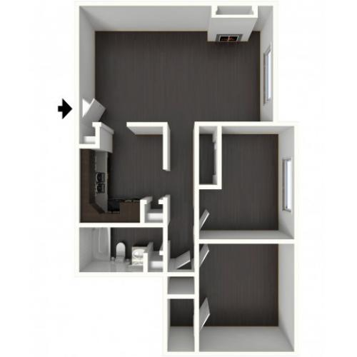 B1 Floorplan: 2 Bedroom, 1 Bathroom - 850 sqft