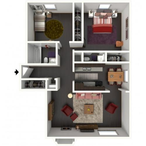 B1.5A Floorplan: 2 Bedroom, 1.5 Bathroom - 850 sqft.