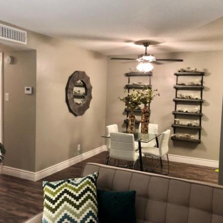 Living Room of renovated 2 Bedroom apartment featuring upgrades like USB Outlets, Smart Door Locks and Smart Thermostats.