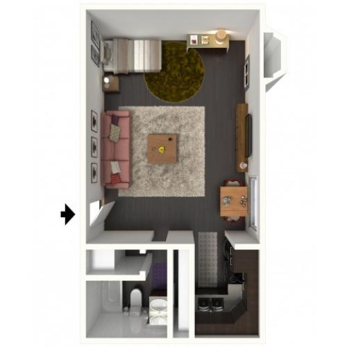 A0 Renovated Floorplan: Renovated Studio - 500 sqft