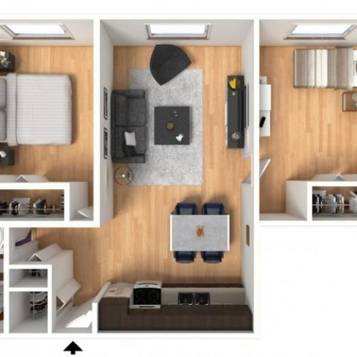 Floor plan layout of 2X1A: 2 Bedroom, 1 Bathroom; 610sqft
