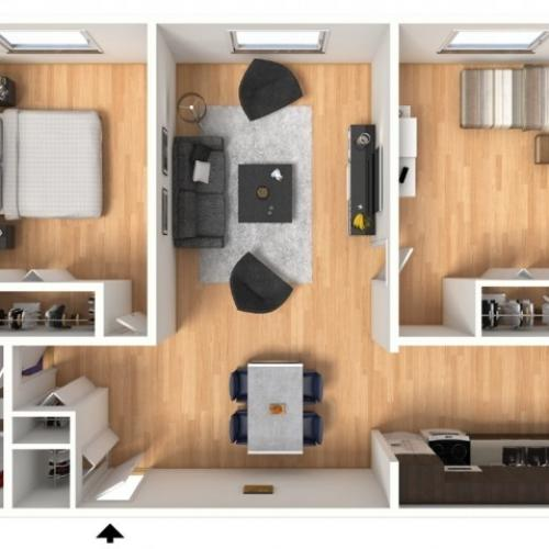 2X1B Floorplan: 2 Bedroom, 1 Bathroom; 693sqft