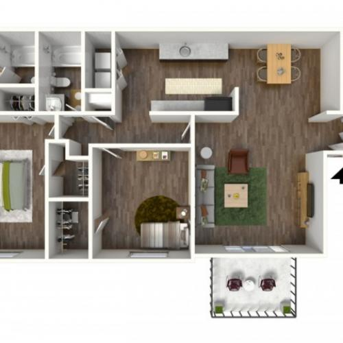 3D Floorplan of Avantic Renovation, Cornerstone, 2 Bedroom 2 Bath, Apartment, 1250 SQFT