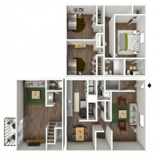 Furnished 3D Floorplan Avantic Renovation, Pinnacle, 3 Bedroom, 2.5 Bathroom, Townhome, 2000 SQFT