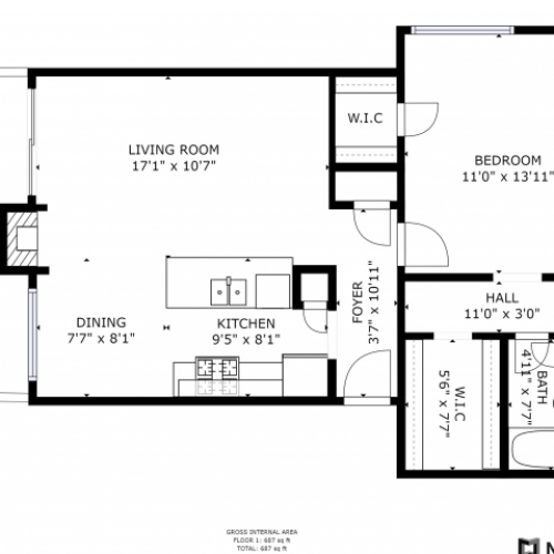 A1A Floorplan: 1 Bedrooms, 1 Bathroom Apartment - 687 sqft