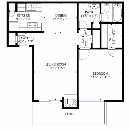 A1 Renovated Floorplan: 1 Bedroom; 1 Bathroom - 667sqft