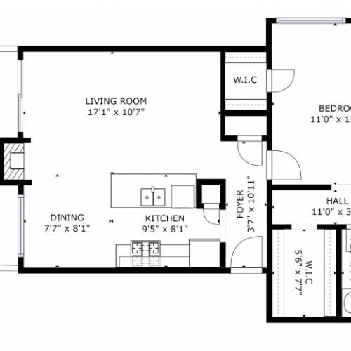 A1A Renovated Floorplan: 1 Bedrooms, 1 Bathroom Apartment - 687 sqft