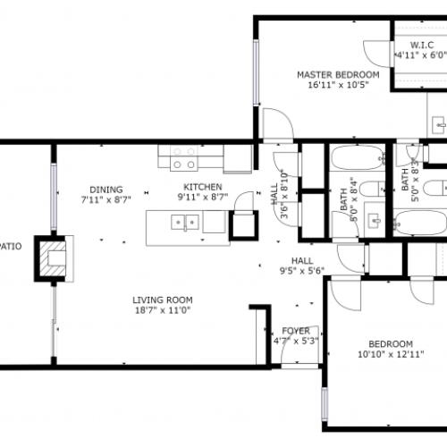 B2 Renovated Floorplan: 2 Bedroom, 2 Bathroom - 955 sqft