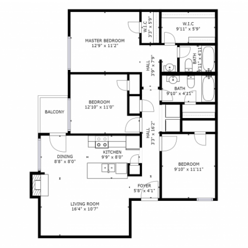 C1 Renovated Floorplan: 3 Bedroom, 2 Bathroom - 1114sqft