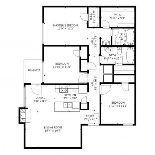 C1 Renovated Floorplan: 3 Bedroom, 2 Bathroom - 1114sqft