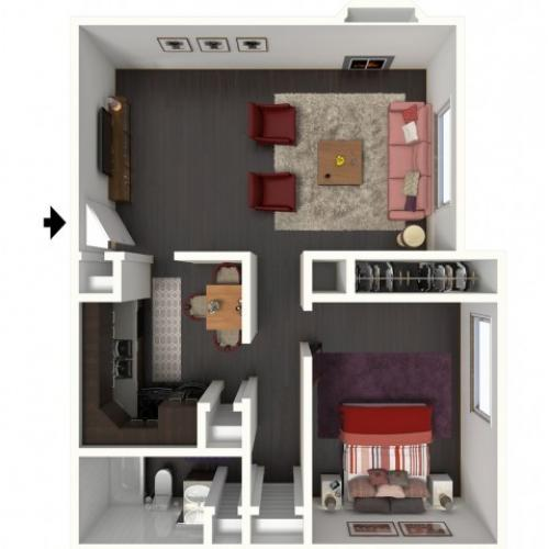 A1 Renovated Floorplan: 1 Bedroom, 1 Bathroom - 750 sqft