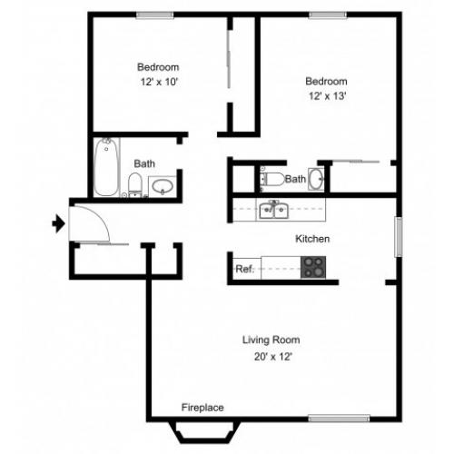 B1.5A Renovated Floorplan: 2 Bedroom, 1.5 Bathroom - 850 sqft