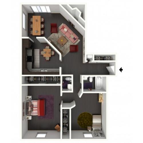 B1.5B Renovated Floorplan: 2 Bedroom, 1.5 Bathroom - 1134sqft.