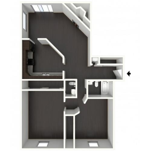 B1.5B Renovated Floorplan: 2 Bedroom, 1.5 Bathroom - 1134sqft.