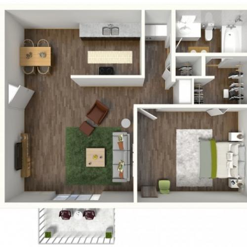 A1 Renovated Floorplan: 1 Bedroom, 1 Bathroom, 652sqft