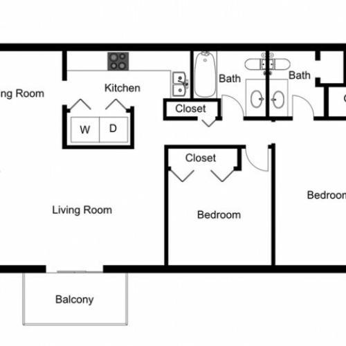 B2 Renovated Floorplan: 2 Bedroom, 2 Bathroom, 1000sqft