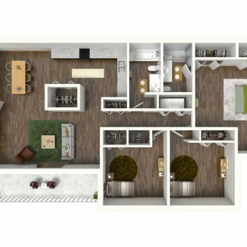 C1 Renovated Floorplan: 3 Bedroom, 2 Bathroom, 1330sqft