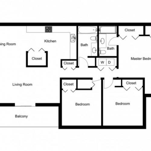 C1 Renovated Floorplan: 3 Bedroom, 2 Bathroom, 1330sqft