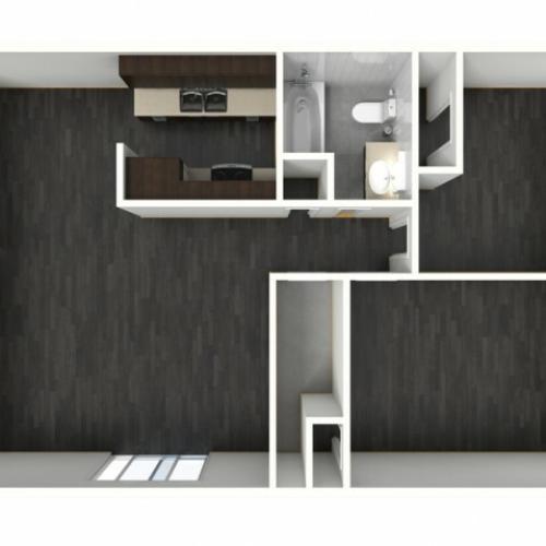 2X1A Renovated Floorplan: 2 Bedroom, 1 Bathroom - 947 sqft