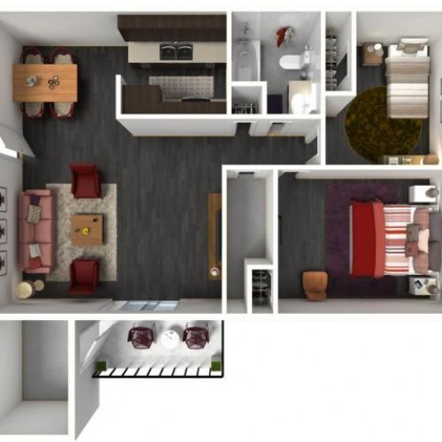 2X1B Renovated Floorplan: 2 Bedroom, 1 Bathroom - 1002 sqft