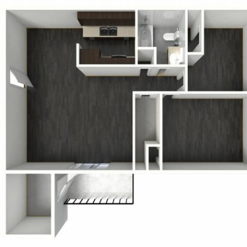 2X1B Renovated Floorplan: 2 Bedroom, 1 Bathroom - 1002 sqft