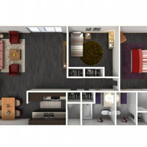 2X2A Renovated Floorplan: 2 Bedroom, 2 Bathroom - 994 sqft