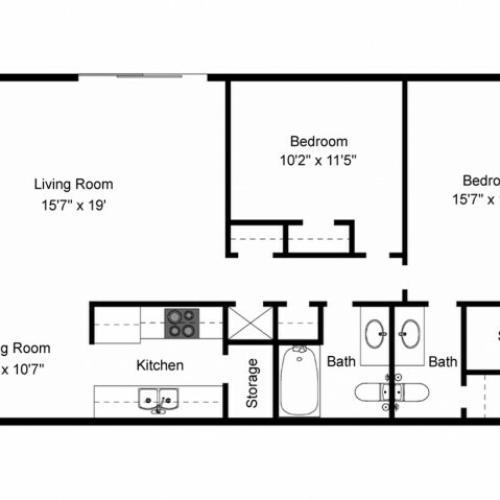 2X2A Renovated Floorplan: 2 Bedroom, 2 Bathroom - 994 sqft