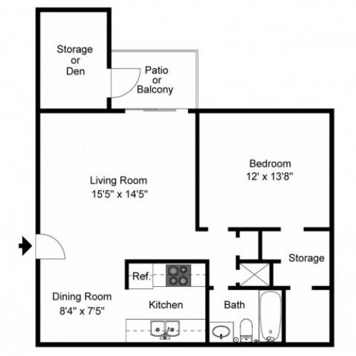 1X1B Renovated Floorplan: 1 Bedroom, 1 Bathroom - 718 sqft